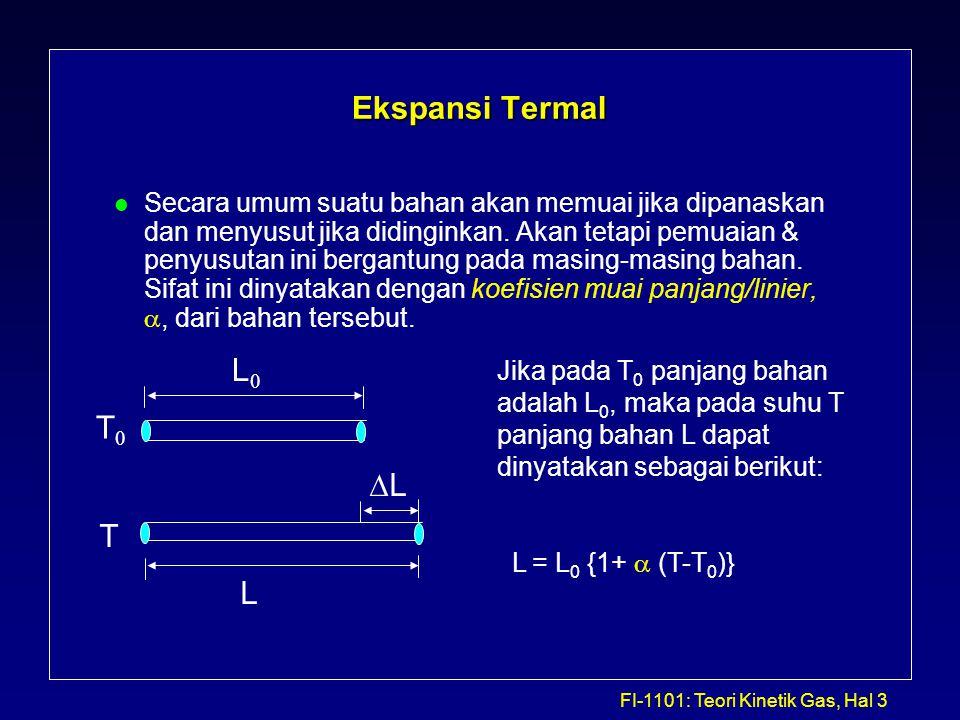 FI-1101: Teori Kinetik Gas, Hal 4 Tabel 1 Koefisien Ekspansi pada 20 0 C BahanKoefisien muai panjang,  ( 0 C) -1 Koefisien muai volume,  ( 0 C) -1 Aluminium25 X 10 -6 75 X 10 -6 Kuningan19 X 10 -6 56 X 10 -6 Besi atau Baja12 X 10 -6 35 X 10 -6 Timbal29 X 10 -6 87 X 10 -6 Glass (Pyrex)3 X 10 -6 9 X 10 -6 Glass (biasa)9 X 10 -6 27 X 10 -6 Quartz0,4 X 10 -6 1 X 10 -6 Bensin950 X 10 -6 Hg180 X 10 -6 Glycerin500 X 10 -6 Air210 X 10 -6