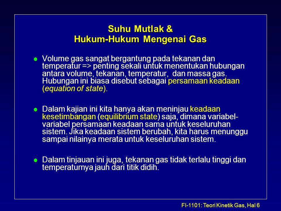 FI-1101: Teori Kinetik Gas, Hal 7 Suhu Mutlak & Hukum-Hukum Mengenai Gas… l Hukum Boyle (Robert Boyle, 1627 - 1691): Volume dari suatu gas adalah berbanding terbalik dengan tekanan yang diberikan jika suhunya dipertahankan tetap.