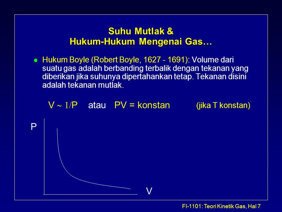 FI-1101: Teori Kinetik Gas, Hal 8 Suhu Mutlak & Hukum-Hukum Mengenai Gas… l Hukum Charles (The Frenchman Jacques Charles, 1746- 1823): Volume dari sejumlah gas berbanding lurus dengan suhu mutlak jika tekanan dipertahankan konstan.