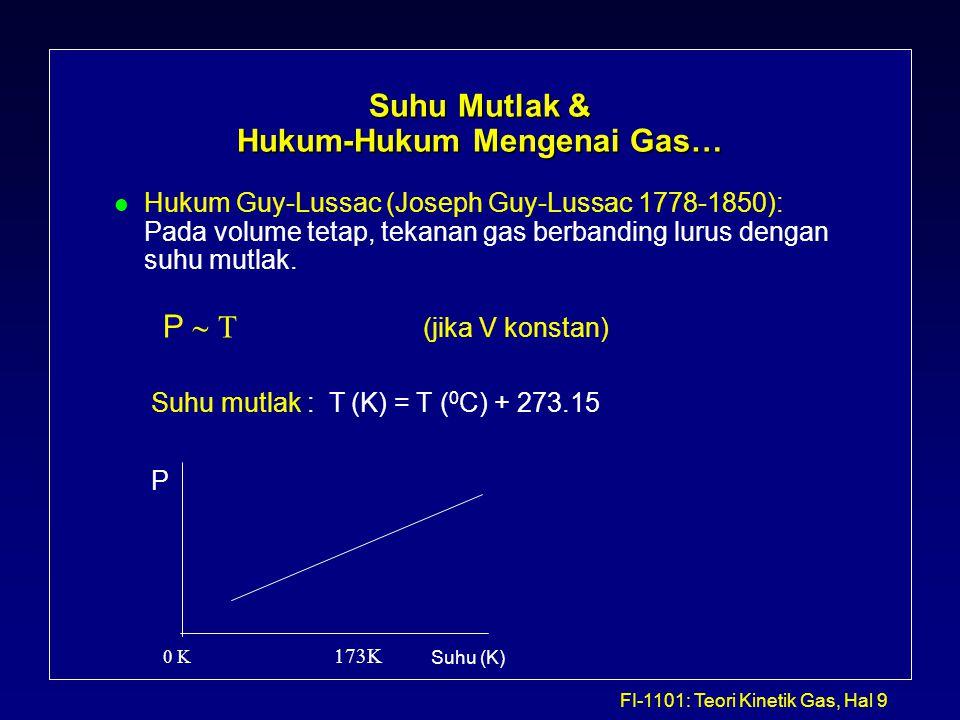 FI-1101: Teori Kinetik Gas, Hal 10 Gas Ideal l Hukum Boyle, Charles, dan Guy-Lussac mengisyaratkan suatu hubungan umum antara P, V, dan T dari suatu kuantitas gas tertentu: l Selanjutnya kita harus memasukkan pengaruh jumlah gas l Kuantitas gas ini dapat dituliskan sebagai mol zat berikut: l Sehingga persamaan gas di atas dapat ditulis sbb: PV  PV = nRT n (mol) = massa (gram) / massa molekular (gram/mol) PV ~ mT