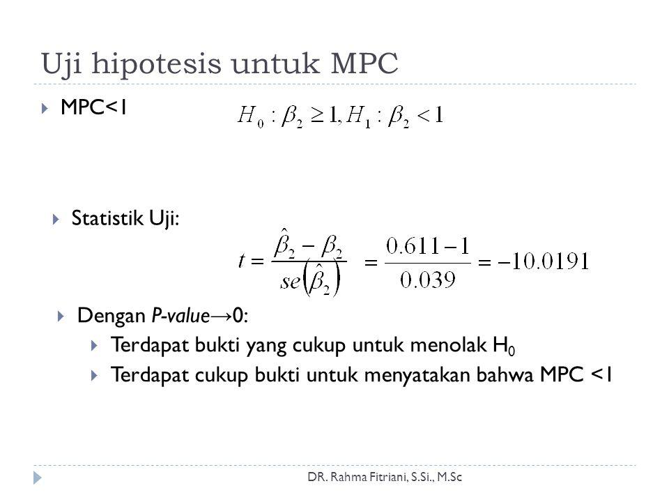 Uji hipotesis untuk MPC DR. Rahma Fitriani, S.Si., M.Sc  MPC<1  Statistik Uji:  Dengan P-value → 0:  Terdapat bukti yang cukup untuk menolak H 0 