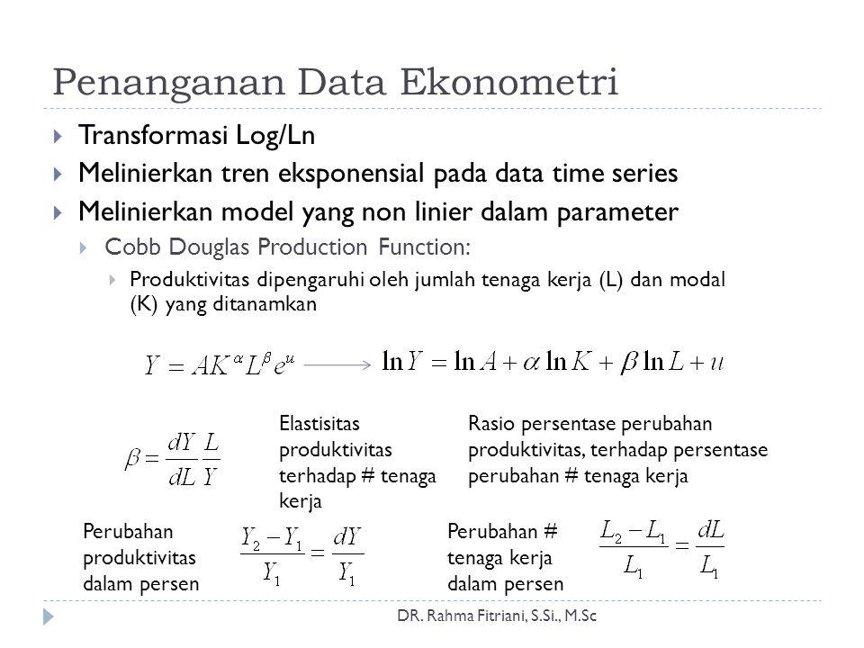 Penanganan Data Ekonometri  Transformasi Log/Ln  Melinierkan tren eksponensial pada data time series  Melinierkan model yang non linier dalam param