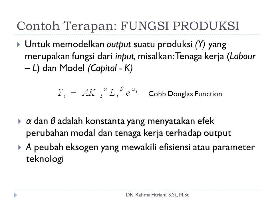Contoh Terapan: FUNGSI PRODUKSI DR. Rahma Fitriani, S.Si., M.Sc  Untuk memodelkan output suatu produksi (Y) yang merupakan fungsi dari input, misalka