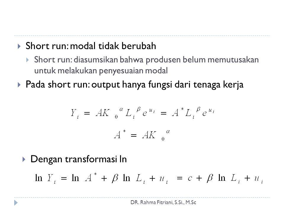 DR. Rahma Fitriani, S.Si., M.Sc  Short run: modal tidak berubah  Short run: diasumsikan bahwa produsen belum memutusakan untuk melakukan penyesuaian