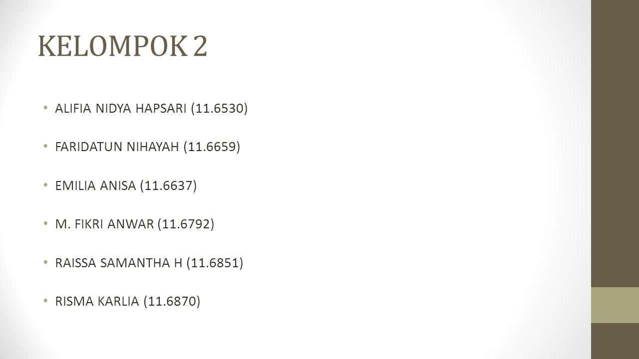 KELOMPOK 2 ALIFIA NIDYA HAPSARI (11.6530) FARIDATUN NIHAYAH (11.6659) EMILIA ANISA (11.6637) M. FIKRI ANWAR (11.6792) RAISSA SAMANTHA H (11.6851) RISM