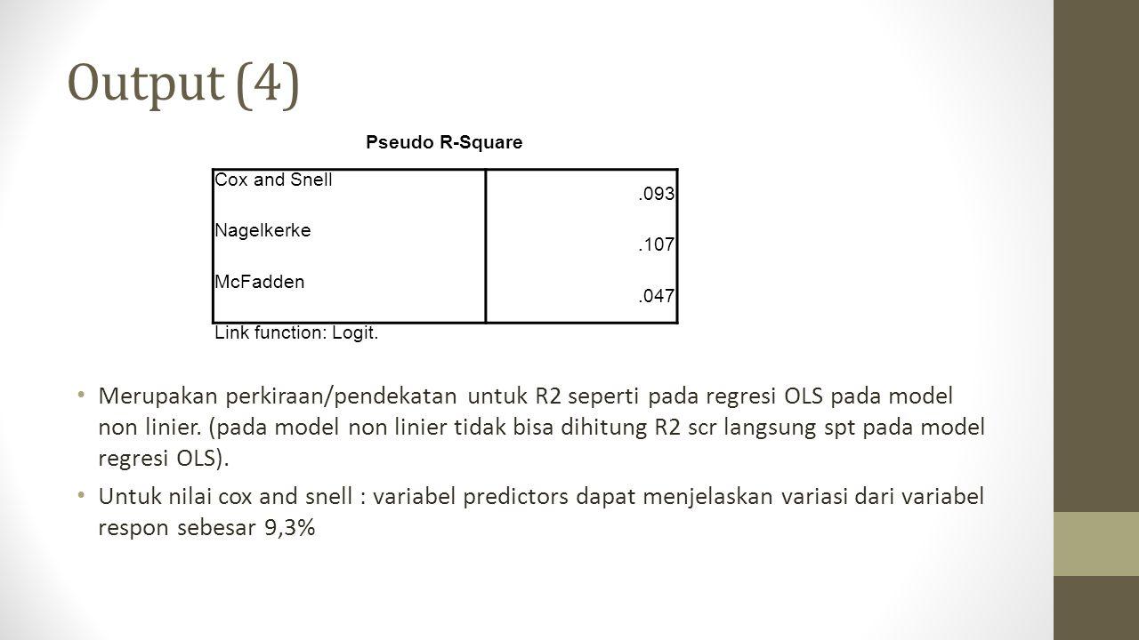 Output (4) Merupakan perkiraan/pendekatan untuk R2 seperti pada regresi OLS pada model non linier. (pada model non linier tidak bisa dihitung R2 scr l