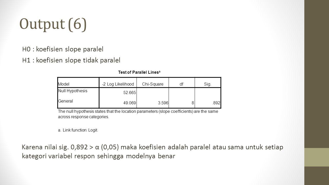 Output (6) H0 : koefisien slope paralel H1 : koefisien slope tidak paralel Karena nilai sig. 0,892 > α (0,05) maka koefisien adalah paralel atau sama