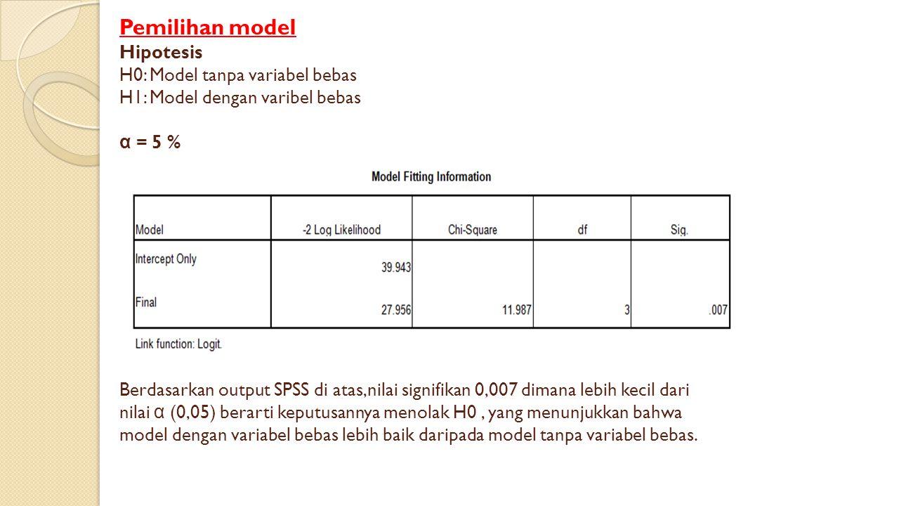 Pemilihan model Hipotesis H0: Model tanpa variabel bebas H1: Model dengan varibel bebas α = 5 % Berdasarkan output SPSS di atas,nilai signifikan 0,007