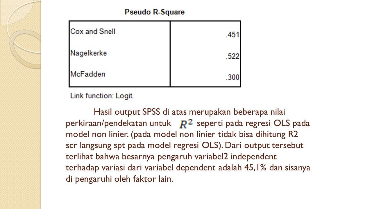 Hasil output SPSS di atas merupakan beberapa nilai perkiraan/pendekatan untuk seperti pada regresi OLS pada model non linier. (pada model non linier t