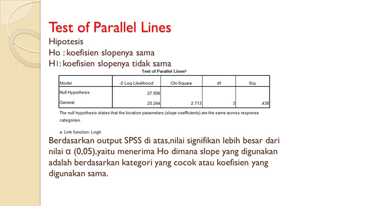 Test of Parallel Lines Test of Parallel Lines Hipotesis Ho : koefisien slopenya sama H 1 : koefisien slopenya tidak sama Berdasarkan output SPSS di at