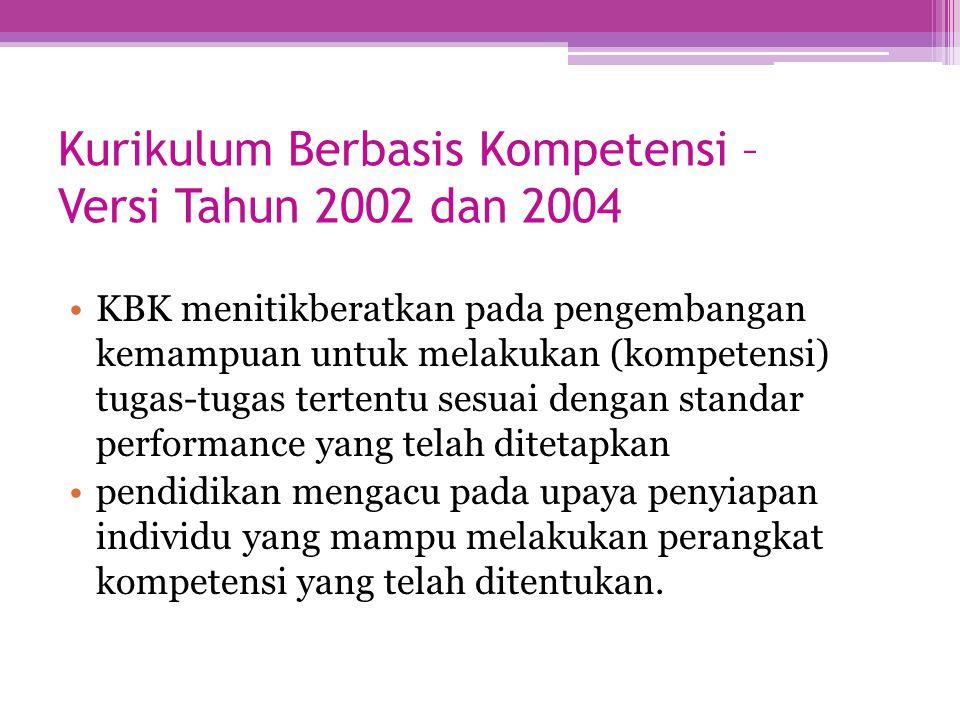Kurikulum Berbasis Kompetensi – Versi Tahun 2002 dan 2004 KBK menitikberatkan pada pengembangan kemampuan untuk melakukan (kompetensi) tugas-tugas ter