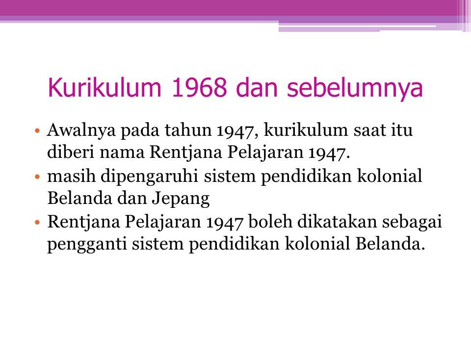 Kurikulum 1968 dan sebelumnya Awalnya pada tahun 1947, kurikulum saat itu diberi nama Rentjana Pelajaran 1947. masih dipengaruhi sistem pendidikan kol