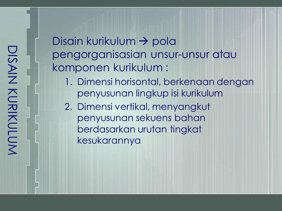 DISAIN KURIKULUM Disain kurikulum  pola pengorganisasian unsur-unsur atau komponen kurikulum : 1.Dimensi horisontal, berkenaan dengan penyusunan lingkup isi kurikulum 2.Dimensi vertikal, menyangkut penyusunan sekuens bahan berdasarkan urutan tingkat kesukarannya