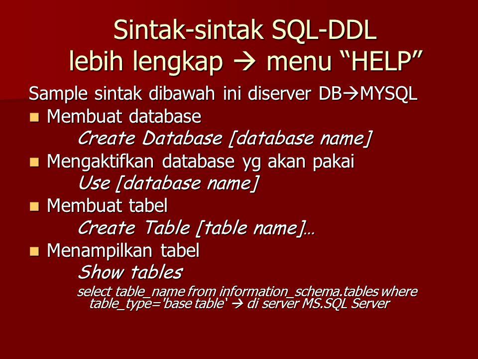 """Sintak-sintak SQL-DDL lebih lengkap  menu """"HELP"""" Sample sintak dibawah ini diserver DB  MYSQL Membuat database Membuat database Create Database [dat"""