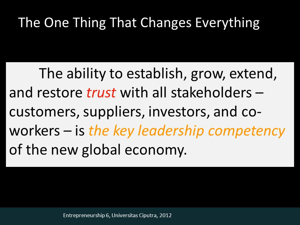Entrepreneurship 6, Universitas Ciputra, 2012 The One Thing That Changes Everything The ability to establish, grow, extend, and restore trust with all stakeholders – customers, suppliers, investors, and co- workers – is the key leadership competency of the new global economy.