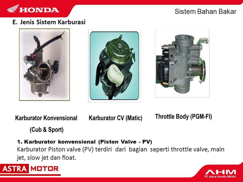 Sistem Bahan Bakar 2.Karburator Constant Velocity (CV).