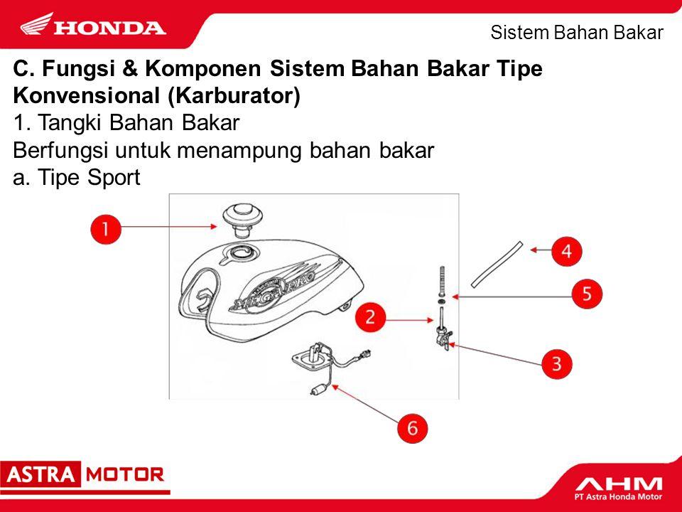 Sistem Bahan Bakar Komponen: 1.Tutup tangki (fuel filler cap) 2.