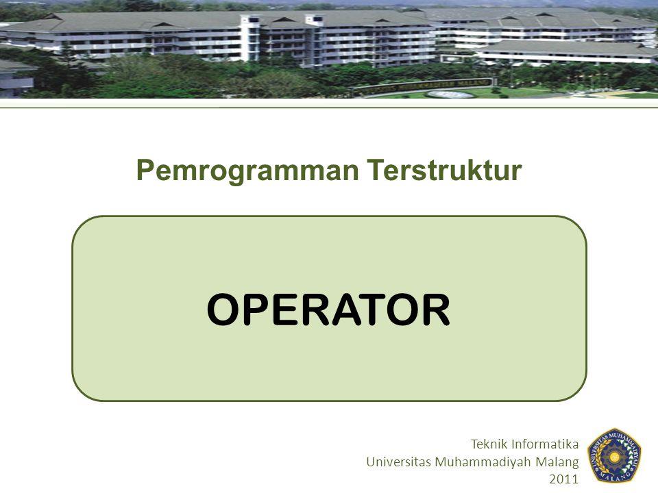 Tujuan Pembelajaran Mahasiswa diharapkan mengetahui macam- macam operator di C Mahasiswa mampu menggunakan operator- operator di C dengan tepat 2
