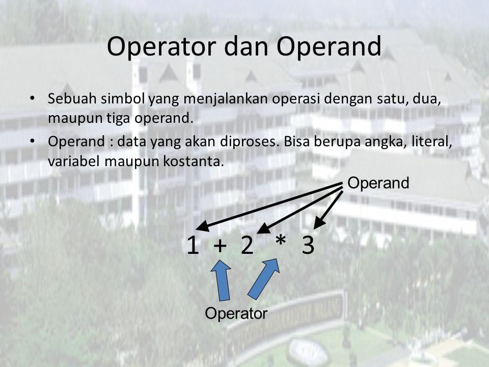 Operator Bitwise Bitwise NOT : ~ – Membalik seluruh bit – ~10101 adalah 01010 (desimalnya -22, karena bit bagian kiri juga ikut dinegasi menjadi satu) Bitwise XOR : ^ – Ekspresi 9 ^ 3 (1001 ^ 0011) bernilai 1010 (desimalnya 10) – Bernilai 0 jika kedua operand bernilai sama.