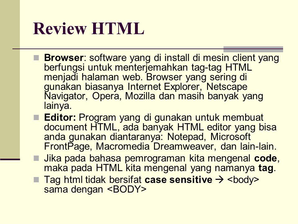Browser: software yang di install di mesin client yang berfungsi untuk menterjemahkan tag-tag HTML menjadi halaman web.