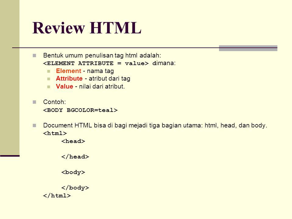 Bentuk umum penulisan tag html adalah: d imana: Element - nama tag Attribute - atribut dari tag Value - nilai dari atribut.