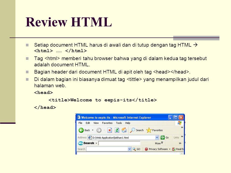 Setiap document HTML harus di awali dan di tutup dengan tag HTML  …… Tag memberi tahu browser bahwa yang di dalam kedua tag tersebut adalah document HTML.