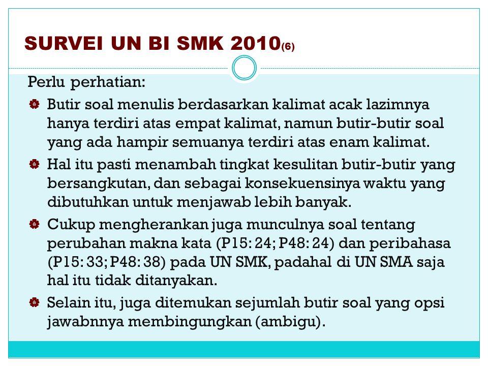 SURVEI UN BI SMK 2010 (5) Perlu perhatian:  Ketentuan penyusunan butir-butir soal dari yang mudah ke yang sulit, tampaknya belum diperhatikan oleh pe