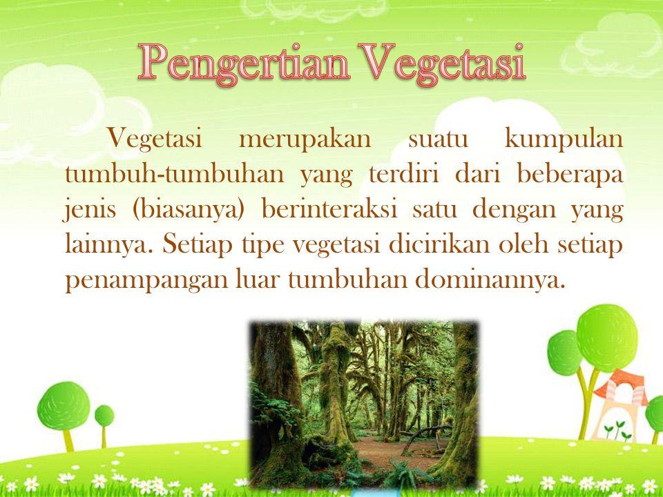 Vegetasi merupakan suatu kumpulan tumbuh-tumbuhan yang terdiri dari beberapa jenis (biasanya) berinteraksi satu dengan yang lainnya.