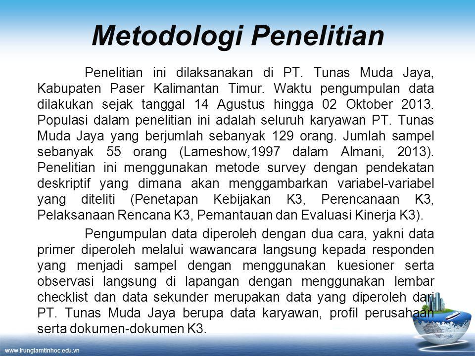 www.trungtamtinhoc.edu.vn Metodologi Penelitian Penelitian ini dilaksanakan di PT. Tunas Muda Jaya, Kabupaten Paser Kalimantan Timur. Waktu pengumpula