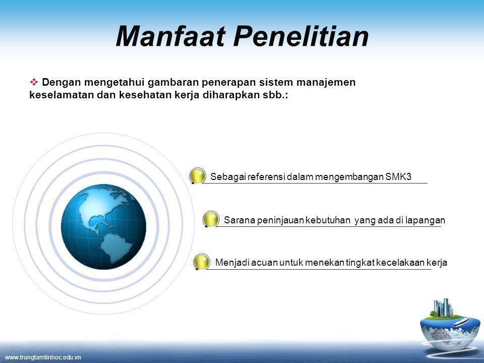 www.trungtamtinhoc.edu.vn Manfaat Penelitian Sebagai referensi dalam mengembangan SMK3 Sarana peninjauan kebutuhan yang ada di lapangan Menjadi acuan