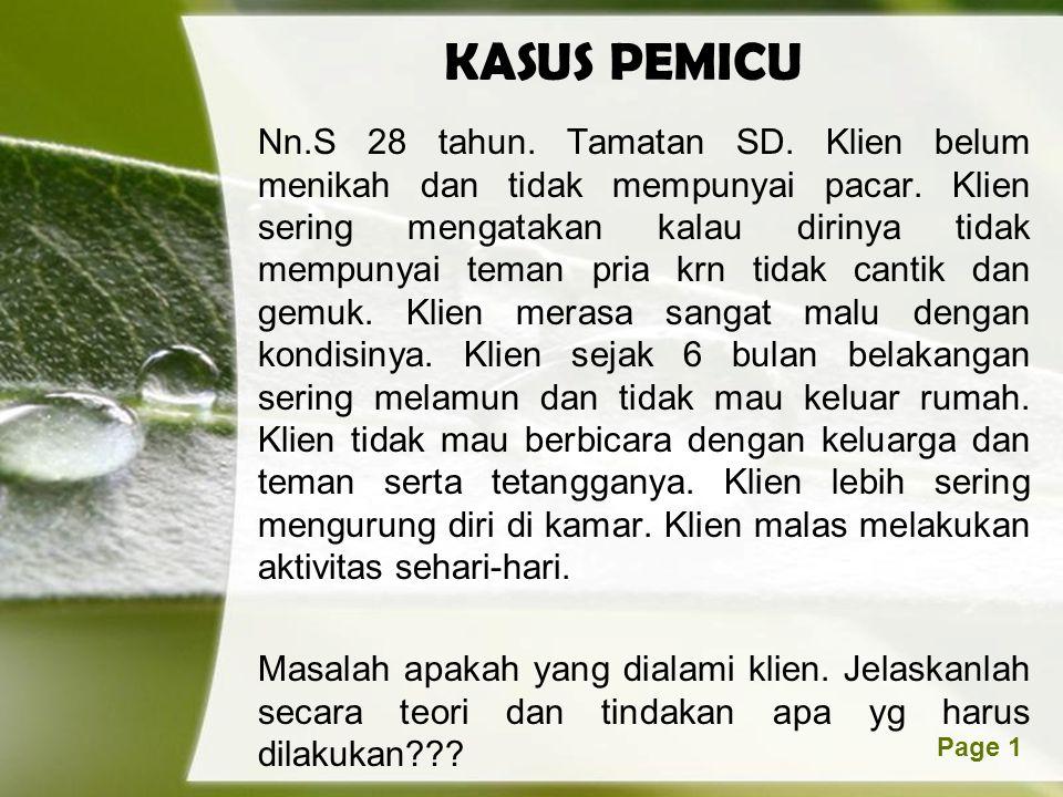 Page 1 KASUS PEMICU Nn.S 28 tahun. Tamatan SD. Klien belum menikah dan tidak mempunyai pacar. Klien sering mengatakan kalau dirinya tidak mempunyai te
