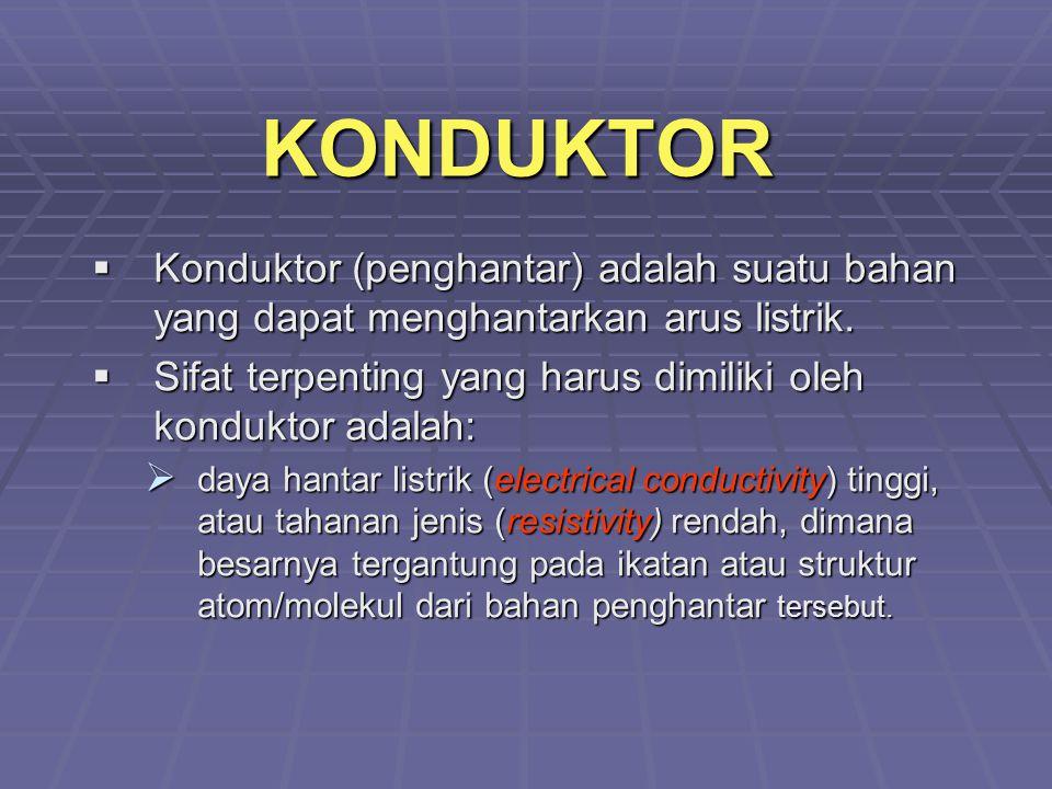 KONDUKTOR  Konduktor (penghantar) adalah suatu bahan yang dapat menghantarkan arus listrik.