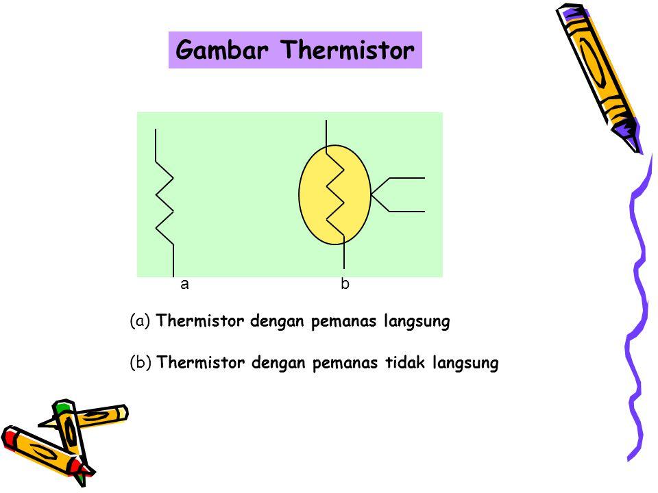 "Thermistor  ""Thermistor"" berasal dari kata thermally sensitive resistor.  Thermistor adalah suatu jenis tahanan yang peka terhadap perubahan tempera"