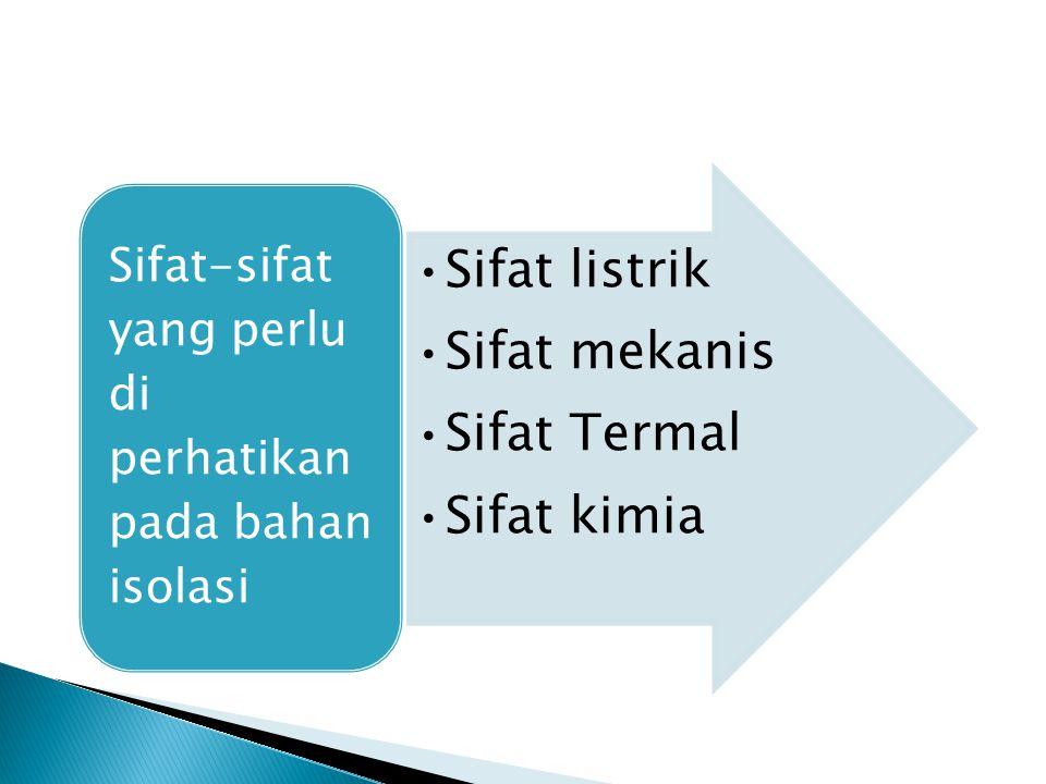 Sifat listrik Sifat mekanis Sifat Termal Sifat kimia Sifat-sifat yang perlu di perhatikan pada bahan isolasi