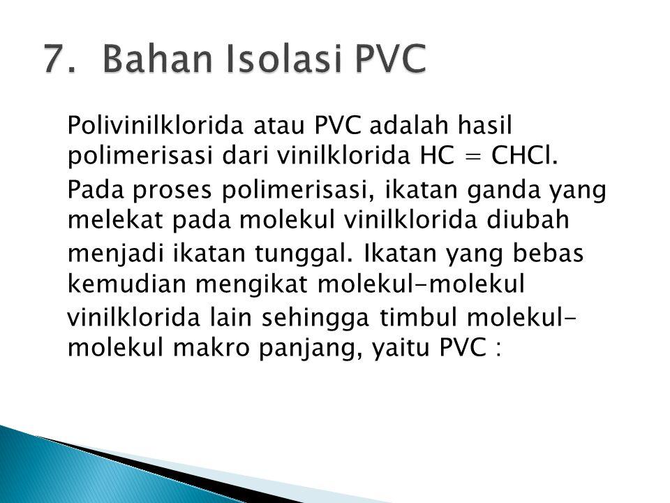 Polivinilklorida atau PVC adalah hasil polimerisasi dari vinilklorida HC = CHCl. Pada proses polimerisasi, ikatan ganda yang melekat pada molekul vini
