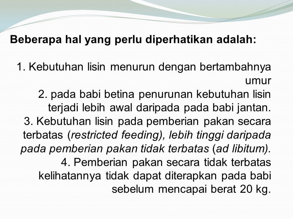 Beberapa hal yang perlu diperhatikan adalah: 1. Kebutuhan lisin menurun dengan bertambahnya umur 2. pada babi betina penurunan kebutuhan lisin terjadi