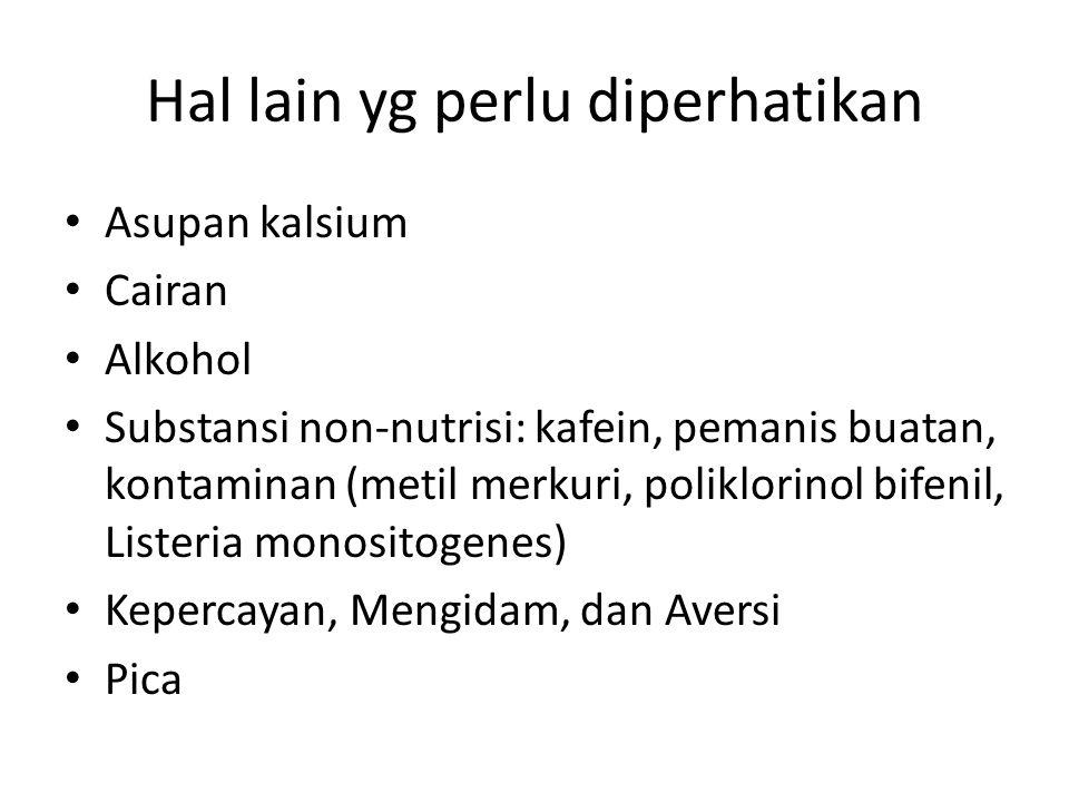 Hal lain yg perlu diperhatikan Asupan kalsium Cairan Alkohol Substansi non-nutrisi: kafein, pemanis buatan, kontaminan (metil merkuri, poliklorinol bifenil, Listeria monositogenes) Kepercayan, Mengidam, dan Aversi Pica