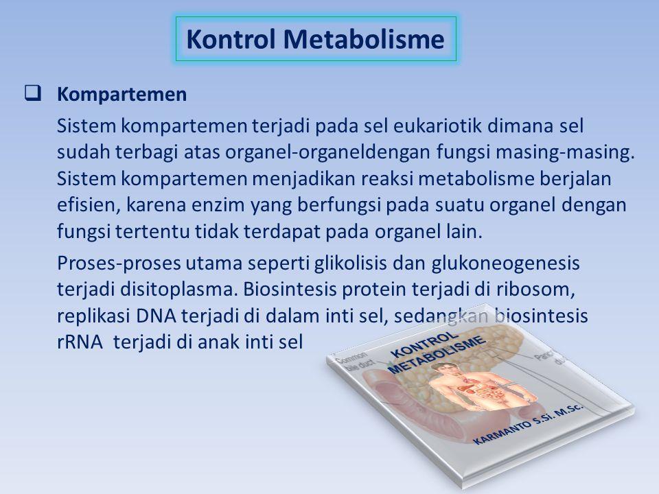 Kontrol Metabolisme  Kompartemen Sistem kompartemen terjadi pada sel eukariotik dimana sel sudah terbagi atas organel-organeldengan fungsi masing-mas