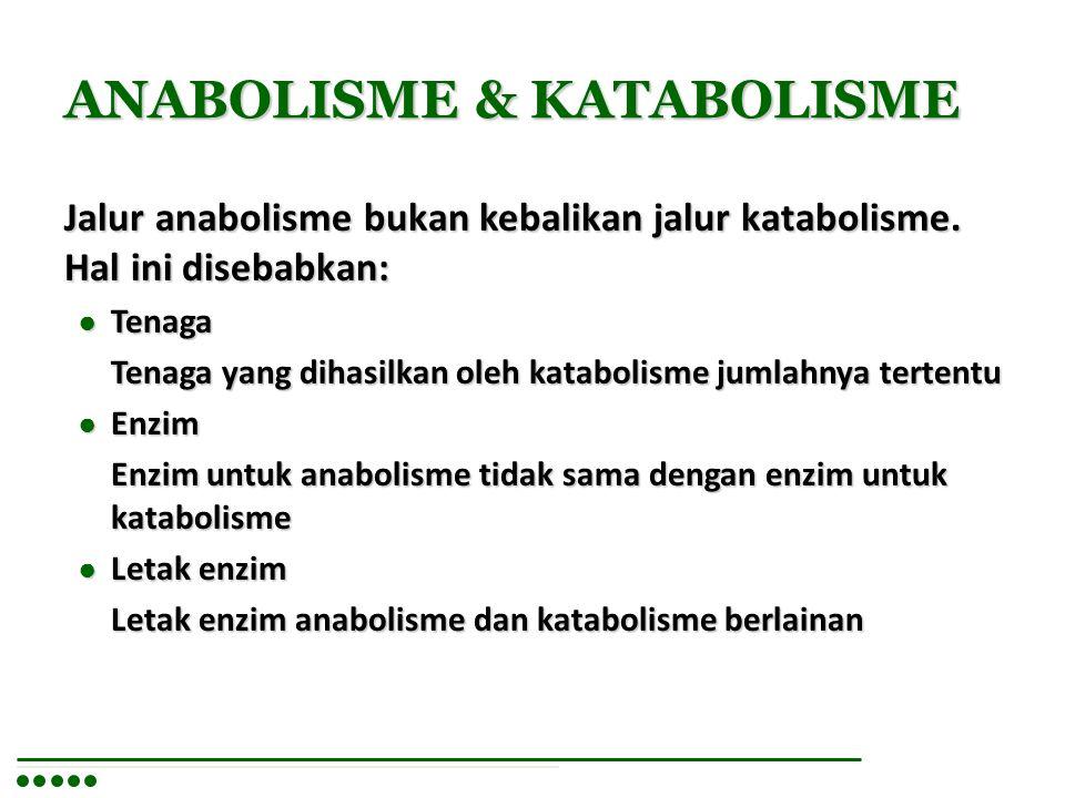 ANABOLISME & KATABOLISME Jalur anabolisme bukan kebalikan jalur katabolisme. Hal ini disebabkan: ● Tenaga Tenaga yang dihasilkan oleh katabolisme juml