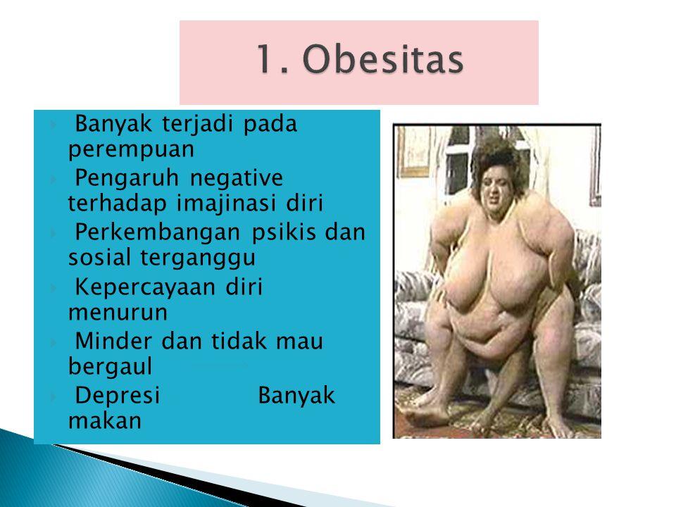 Beberapa masalah gizi yang terjadi pada remaja diantaranya adalah : 1. Obesitas 2. Anemia 3. Kurang energi kronis