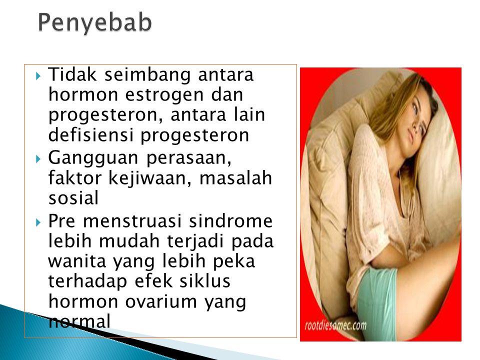  Adalah kumpulan gejala akibat perubahan hormonal yang berhubungan dengan siklus saat haid dan ovulasi.