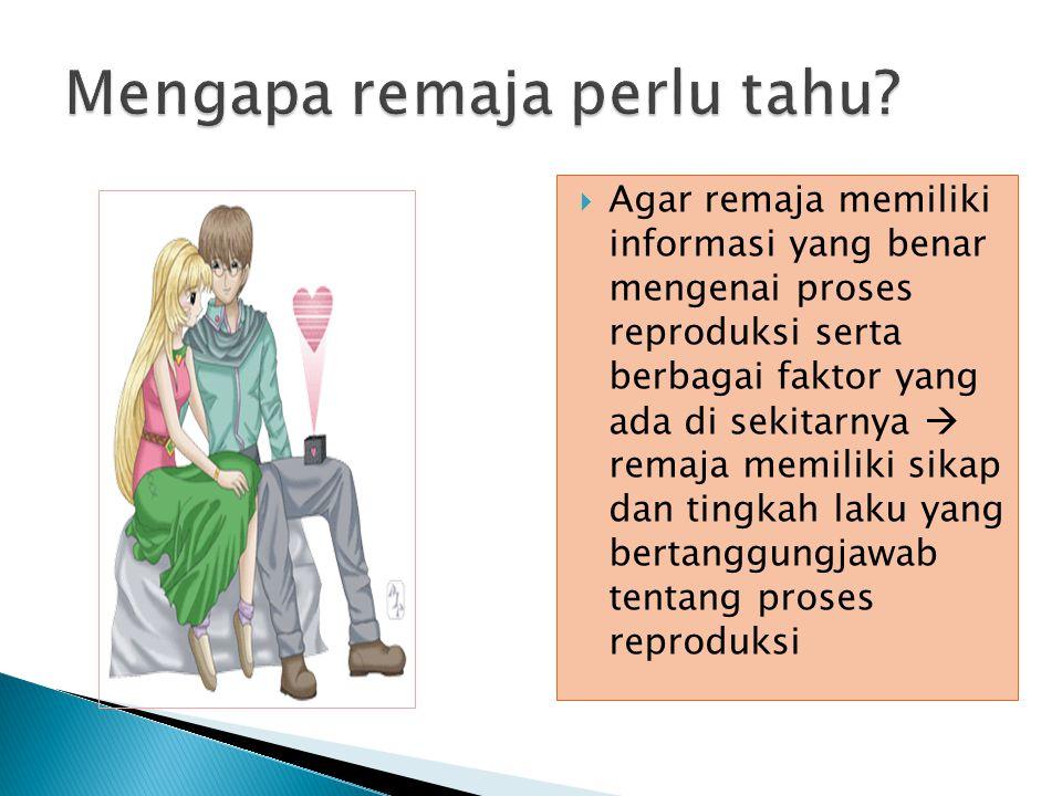  Agar remaja memiliki informasi yang benar mengenai proses reproduksi serta berbagai faktor yang ada di sekitarnya  remaja memiliki sikap dan tingkah laku yang bertanggungjawab tentang proses reproduksi