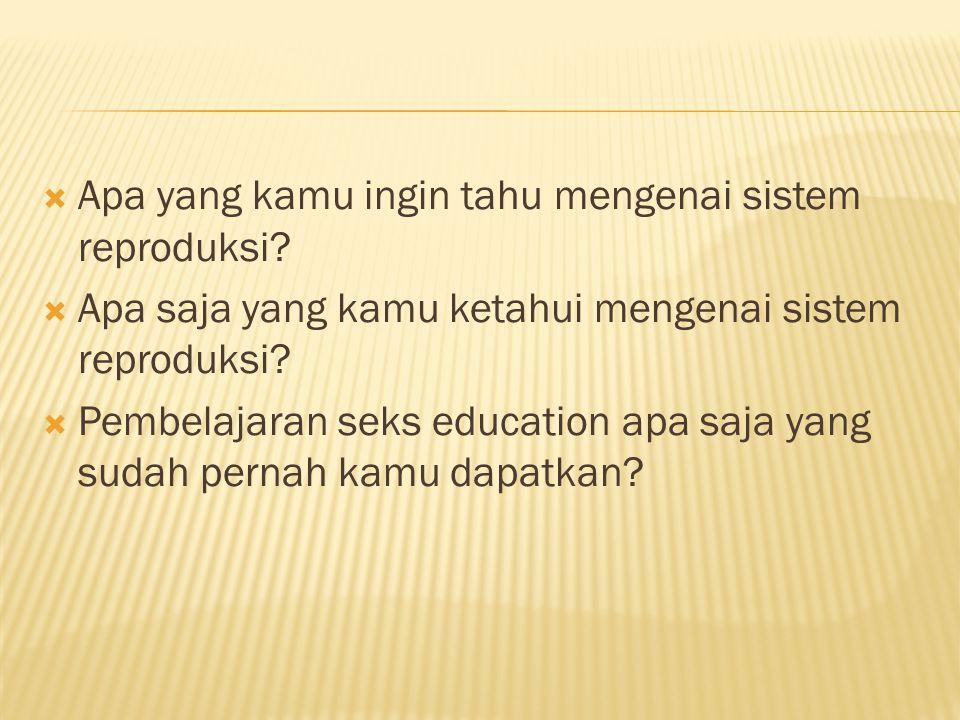  Apa yang kamu ingin tahu mengenai sistem reproduksi.
