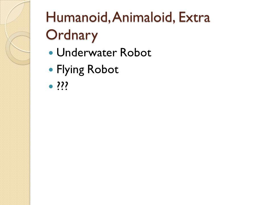 Humanoid, Animaloid, Extra Ordnary Underwater Robot Flying Robot ???