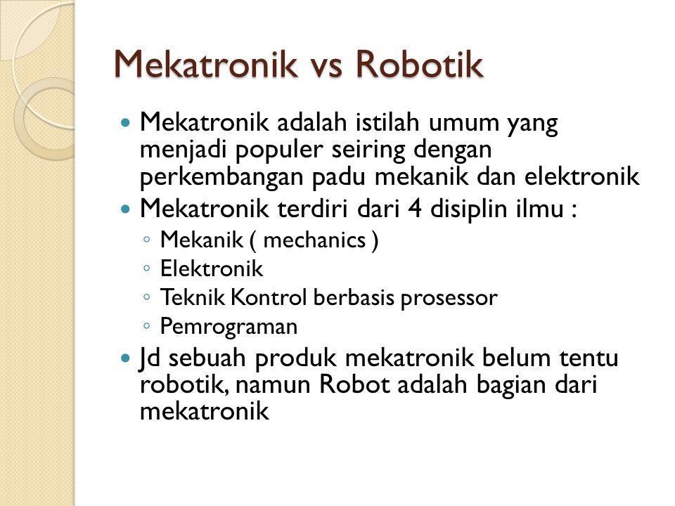 Mekatronik vs Robotik Mekatronik adalah istilah umum yang menjadi populer seiring dengan perkembangan padu mekanik dan elektronik Mekatronik terdiri d