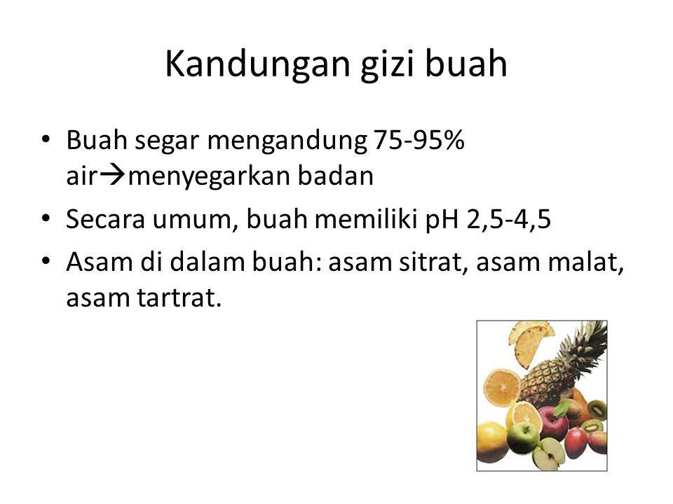 Kandungan gizi buah Buah segar mengandung 75-95% air  menyegarkan badan Secara umum, buah memiliki pH 2,5-4,5 Asam di dalam buah: asam sitrat, asam m