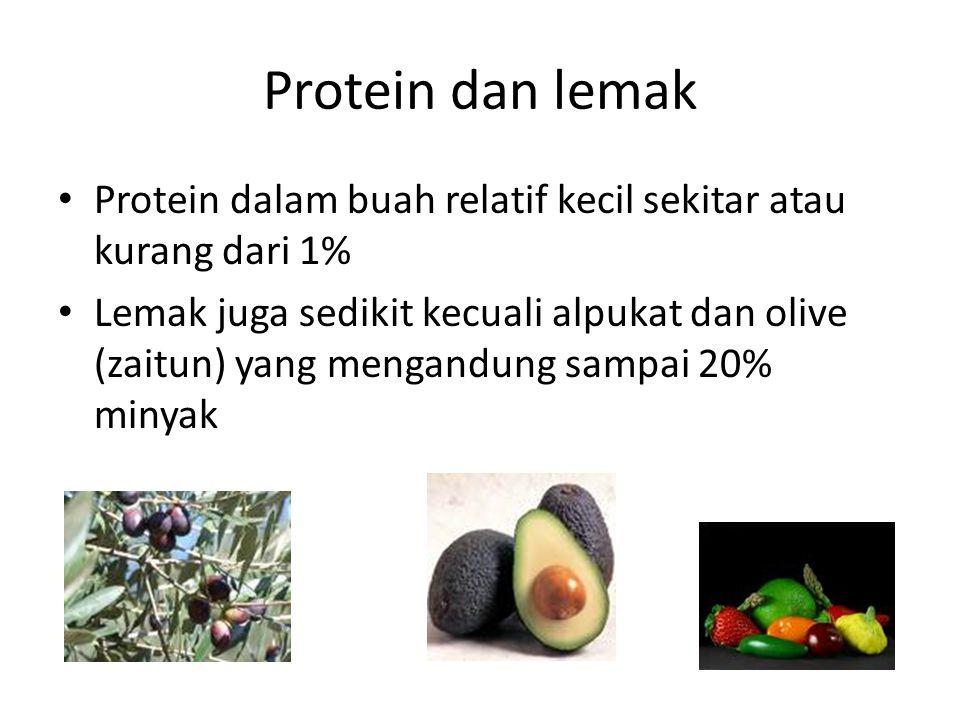 Protein dan lemak Protein dalam buah relatif kecil sekitar atau kurang dari 1% Lemak juga sedikit kecuali alpukat dan olive (zaitun) yang mengandung s