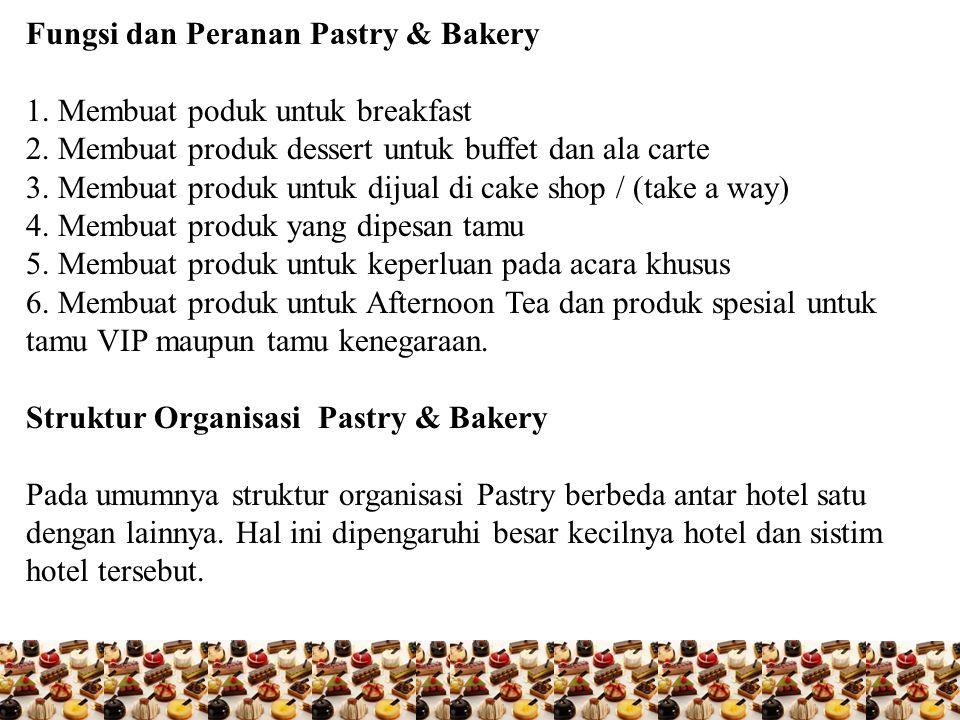 Fungsi dan Peranan Pastry & Bakery 1. Membuat poduk untuk breakfast 2. Membuat produk dessert untuk buffet dan ala carte 3. Membuat produk untuk dijua