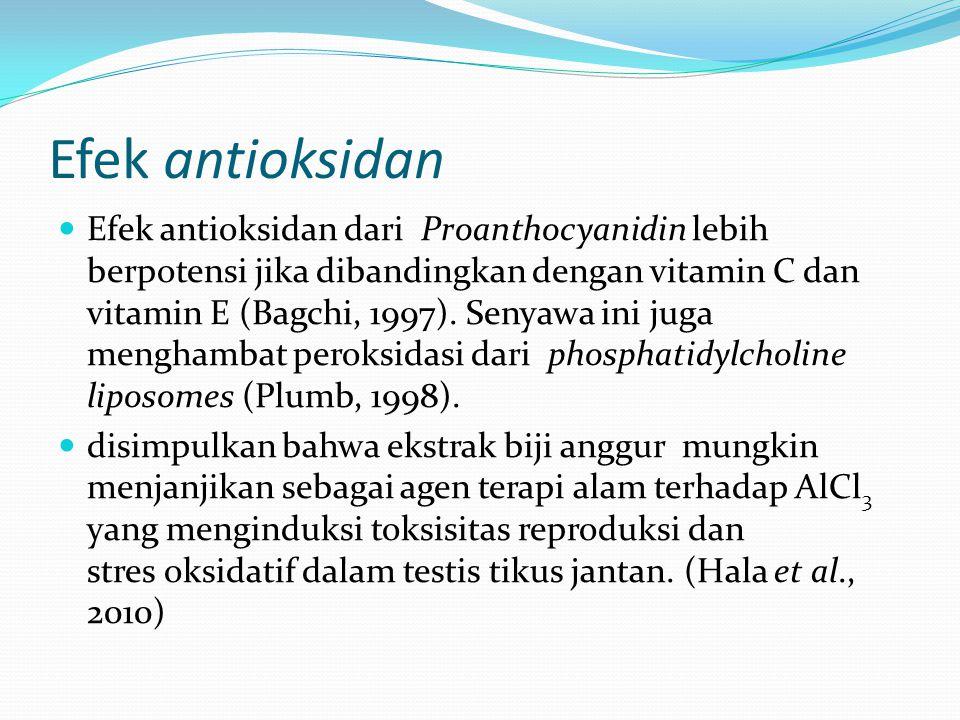 Efek antioksidan Efek antioksidan dari Proanthocyanidin lebih berpotensi jika dibandingkan dengan vitamin C dan vitamin E (Bagchi, 1997). Senyawa ini