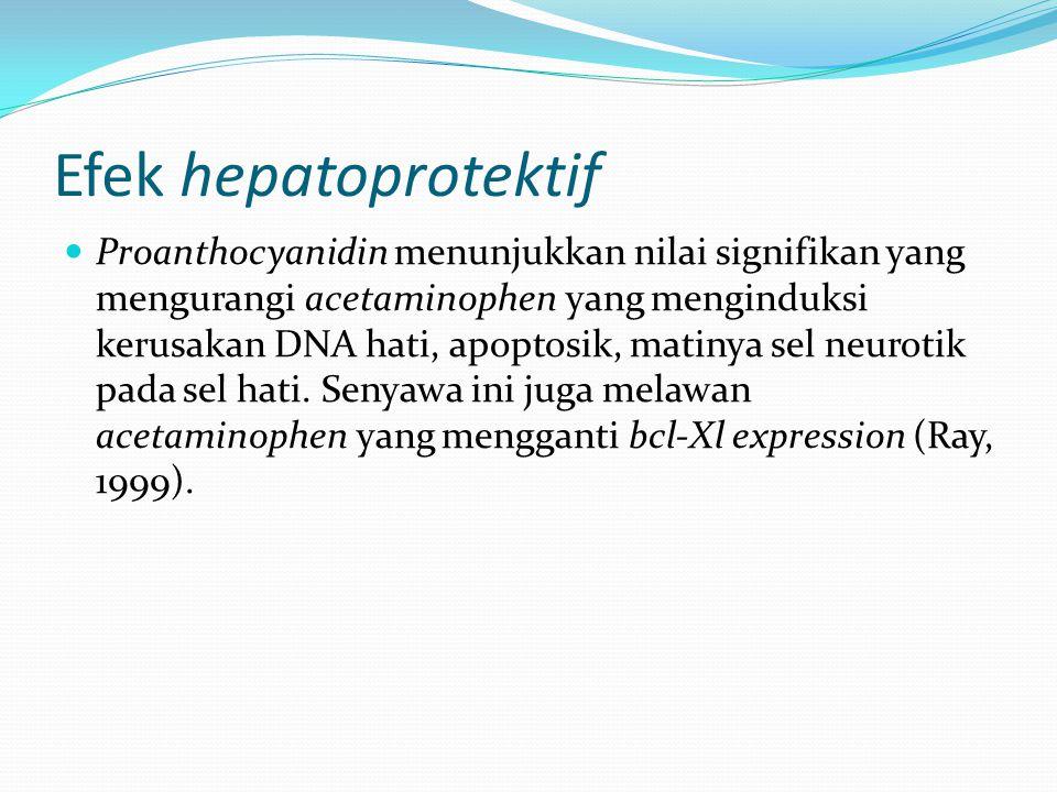 Efek hepatoprotektif Proanthocyanidin menunjukkan nilai signifikan yang mengurangi acetaminophen yang menginduksi kerusakan DNA hati, apoptosik, matin